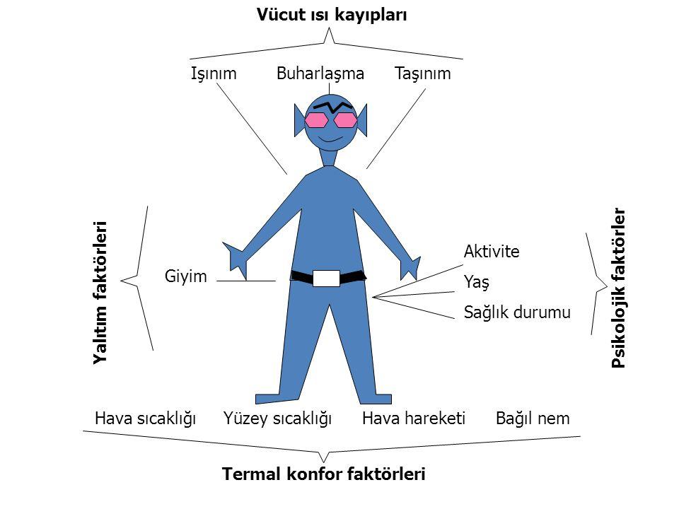 Isıl çevre Şekil termal konforu etkileyen faktörleri göstermektedir. İlk olarak vücut, vücut sıcaklığını sağlamak için metabolik işlemlerle ısı üretir