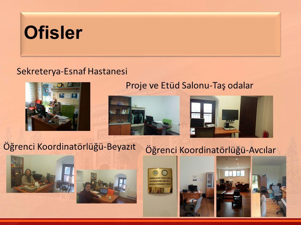 Ofisler Sekreterya-Esnaf Hastanesi Proje ve Etüd Salonu-Taş odalar Öğrenci Koordinatörlüğü-Beyazıt Öğrenci Koordinatörlüğü-Avcılar