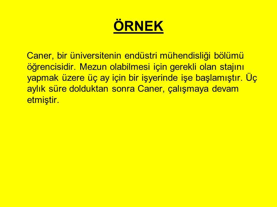 ÖRNEK Caner, bir üniversitenin endüstri mühendisliği bölümü öğrencisidir. Mezun olabilmesi için gerekli olan stajını yapmak üzere üç ay için bir işyer