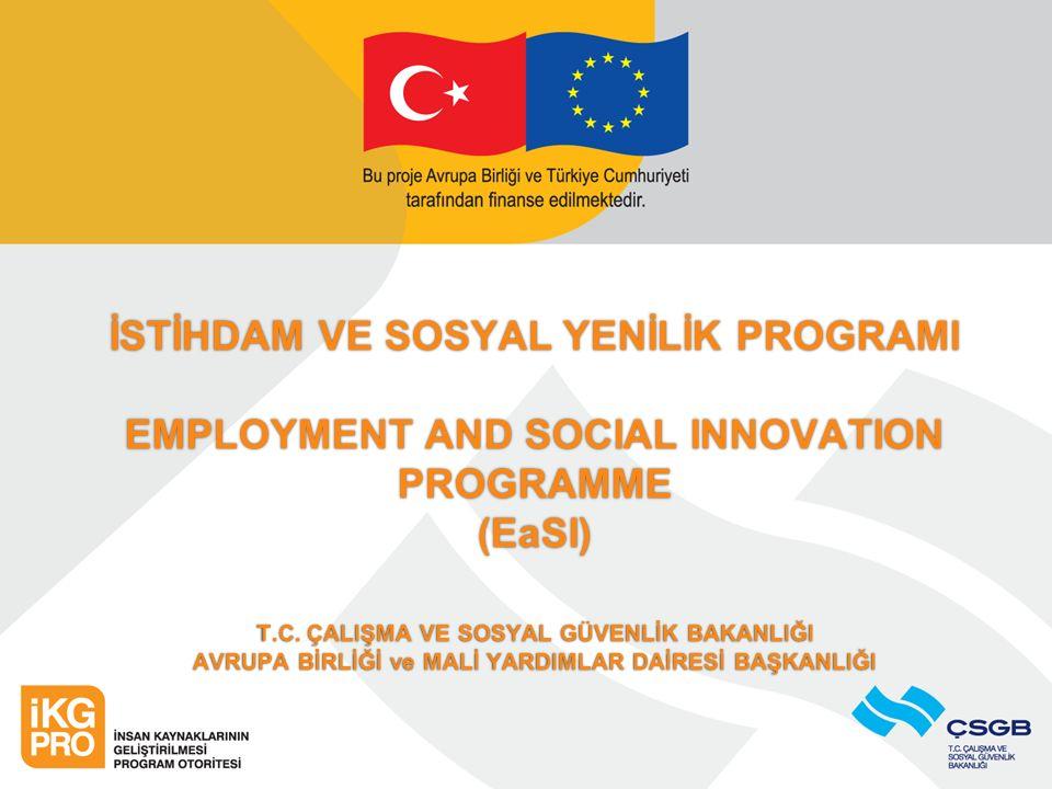 İSTİHDAM VE SOSYAL YENİLİK PROGRAMI EMPLOYMENT AND SOCIAL INNOVATION PROGRAMME (EaSI) T.C.