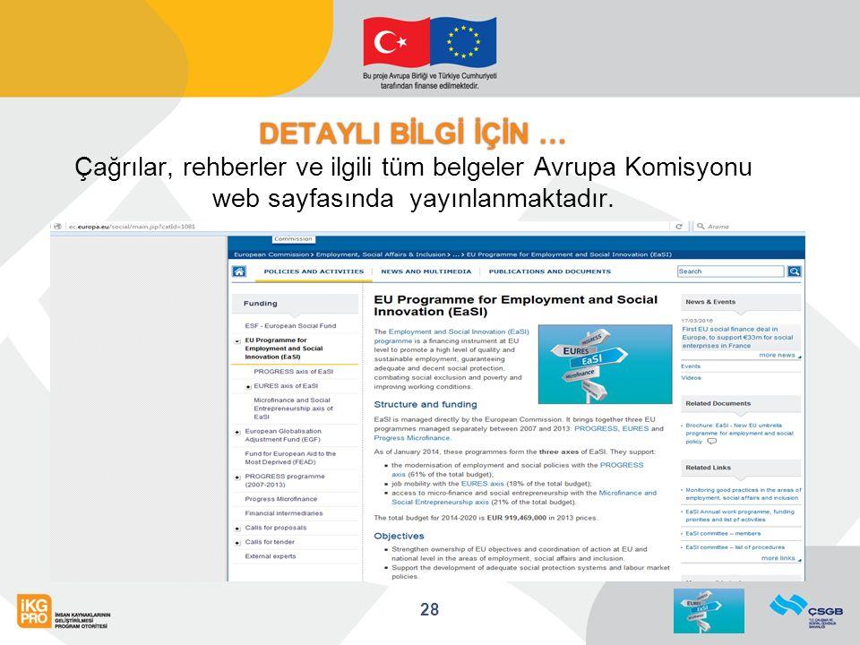 DETAYLI BİLGİ İÇİN … DETAYLI BİLGİ İÇİN … Çağrılar, rehberler ve ilgili tüm belgeler Avrupa Komisyonu web sayfasında yayınlanmaktadır.