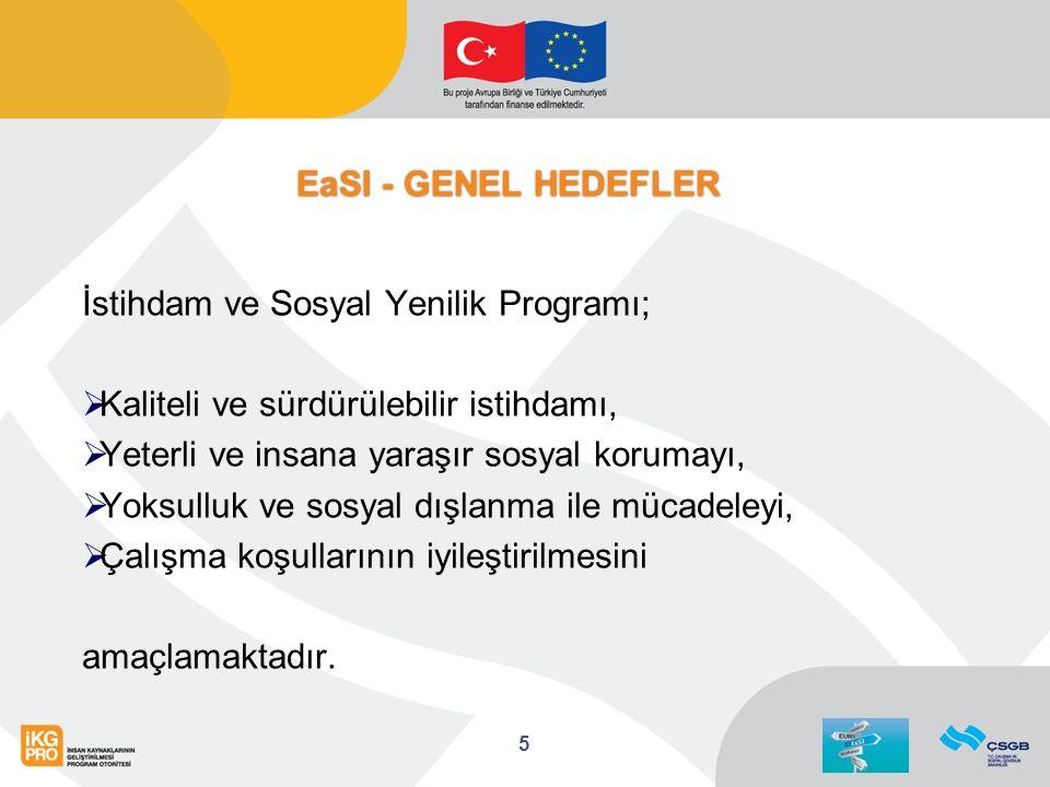 EaSI - GENEL HEDEFLER İstihdam ve Sosyal Yenilik Programı;  Kaliteli ve sürdürülebilir istihdamı,  Yeterli ve insana yaraşır sosyal korumayı,  Yoksulluk ve sosyal dışlanma ile mücadeleyi,  Çalışma koşullarının iyileştirilmesini amaçlamaktadır.