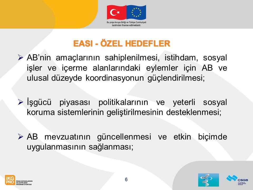 EASI - ÖZEL HEDEFLER  AB'nin amaçlarının sahiplenilmesi, istihdam, sosyal işler ve içerme alanlarındaki eylemler için AB ve ulusal düzeyde koordinasyonun güçlendirilmesi;  İşgücü piyasası politikalarının ve yeterli sosyal koruma sistemlerinin geliştirilmesinin desteklenmesi;  AB mevzuatının güncellenmesi ve etkin biçimde uygulanmasının sağlanması; 6