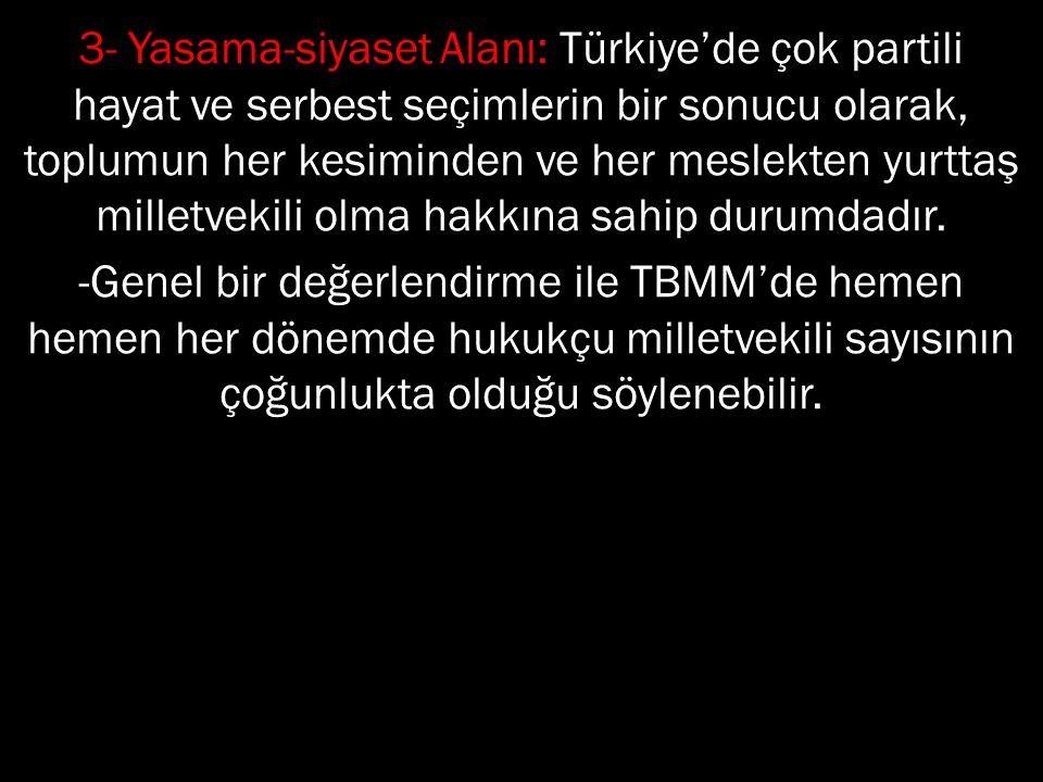 3- Yasama-siyaset Alanı: Türkiye'de çok partili hayat ve serbest seçimlerin bir sonucu olarak, toplumun her kesiminden ve her meslekten yurttaş millet