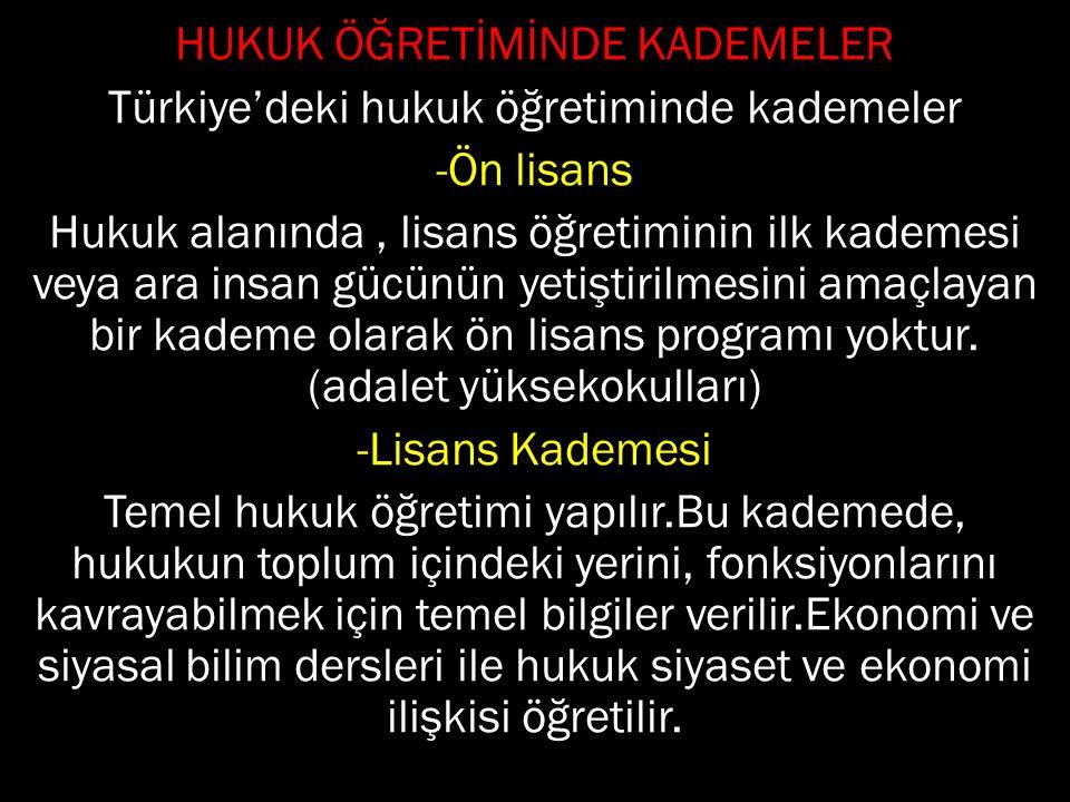 HUKUK ÖĞRETİMİNDE KADEMELER Türkiye'deki hukuk öğretiminde kademeler -Ön lisans Hukuk alanında, lisans öğretiminin ilk kademesi veya ara insan gücünün yetiştirilmesini amaçlayan bir kademe olarak ön lisans programı yoktur.