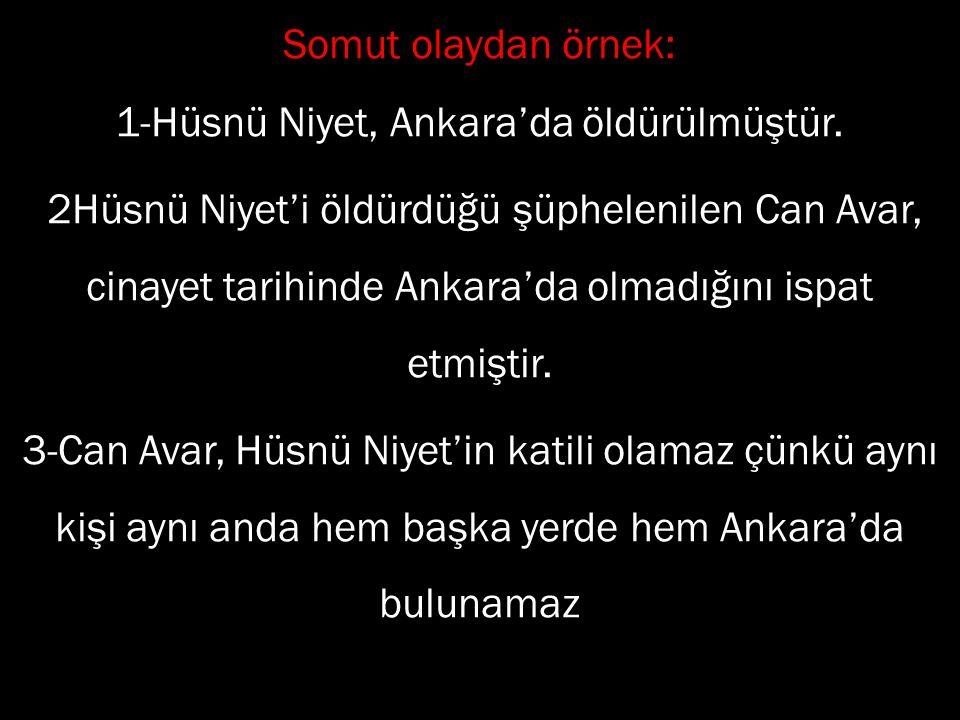 Somut olaydan örnek: 1-Hüsnü Niyet, Ankara'da öldürülmüştür. 2Hüsnü Niyet'i öldürdüğü şüphelenilen Can Avar, cinayet tarihinde Ankara'da olmadığını is
