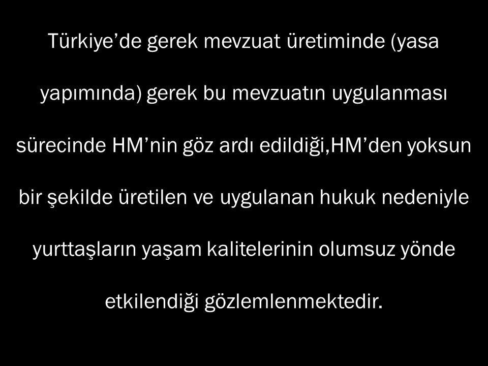 Türkiye'de gerek mevzuat üretiminde (yasa yapımında) gerek bu mevzuatın uygulanması sürecinde HM'nin göz ardı edildiği,HM'den yoksun bir şekilde üretilen ve uygulanan hukuk nedeniyle yurttaşların yaşam kalitelerinin olumsuz yönde etkilendiği gözlemlenmektedir.