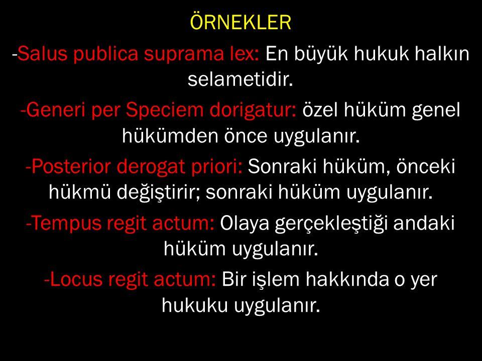 ÖRNEKLER -Salus publica suprama lex: En büyük hukuk halkın selametidir.