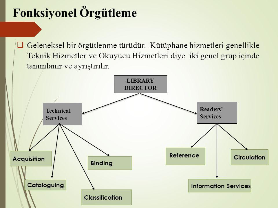Fonksiyonel Örgütleme  Geleneksel bir örgütlenme türüdür.