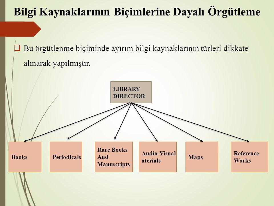 Bilgi Kaynaklarının Biçimlerine Dayalı Örgütleme  Bu örgütlenme biçiminde ayırım bilgi kaynaklarının türleri dikkate alınarak yapılmıştır. LIBRARY DI