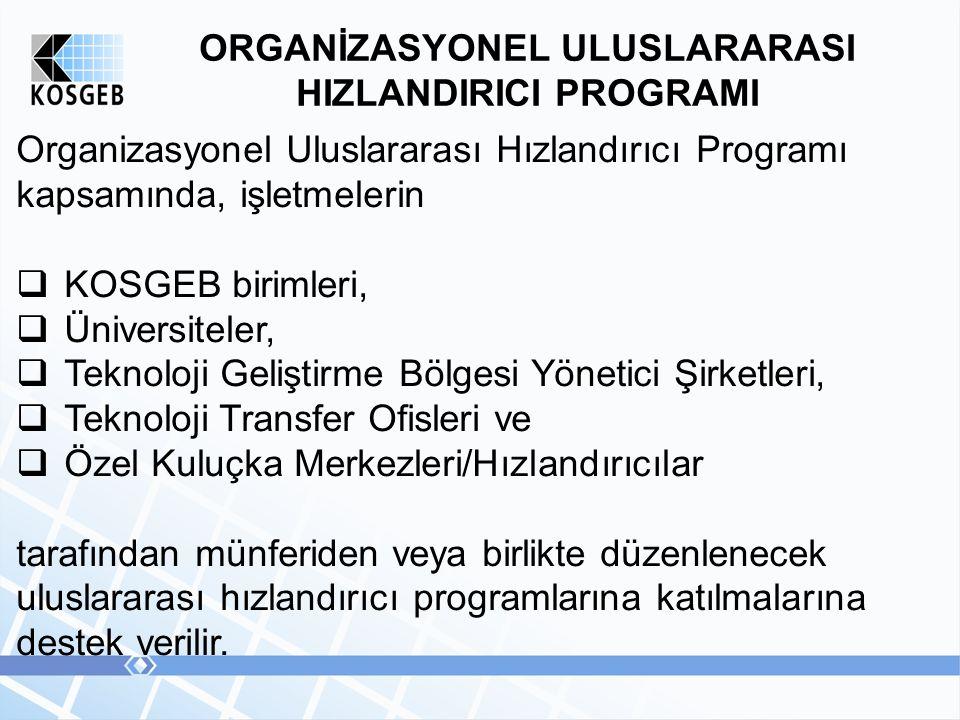 ORGANİZASYONEL ULUSLARARASI HIZLANDIRICI PROGRAMI Organizasyonel Uluslararası Hızlandırıcı Programı kapsamında, işletmelerin  KOSGEB birimleri,  Üni