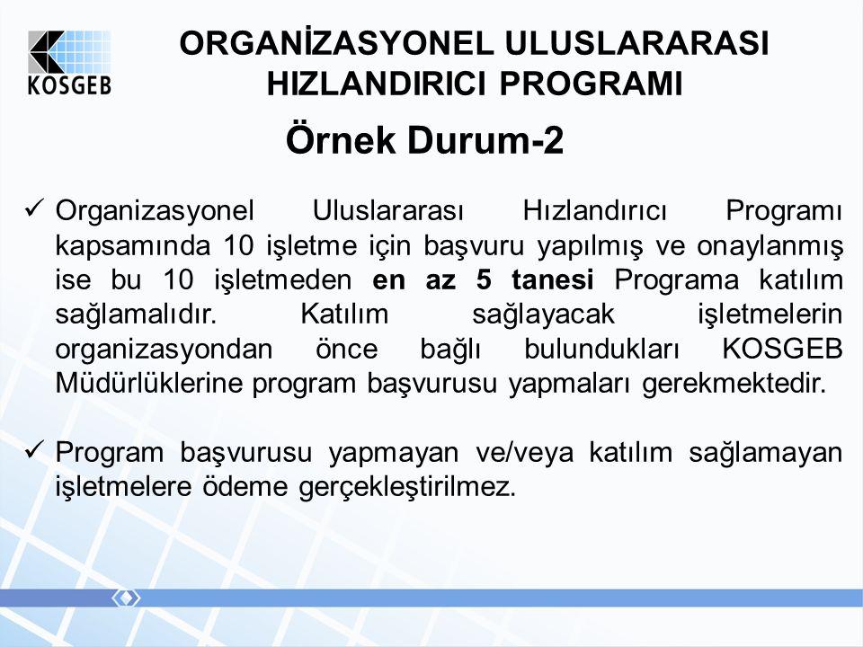 ORGANİZASYONEL ULUSLARARASI HIZLANDIRICI PROGRAMI Örnek Durum-2 Organizasyonel Uluslararası Hızlandırıcı Programı kapsamında 10 işletme için başvuru yapılmış ve onaylanmış ise bu 10 işletmeden en az 5 tanesi Programa katılım sağlamalıdır.