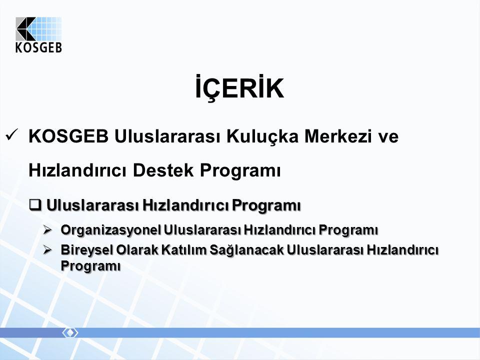 İÇERİK KOSGEB Uluslararası Kuluçka Merkezi ve Hızlandırıcı Destek Programı  Uluslararası Hızlandırıcı Programı  Organizasyonel Uluslararası Hızlandırıcı Programı  Bireysel Olarak Katılım Sağlanacak Uluslararası Hızlandırıcı Programı