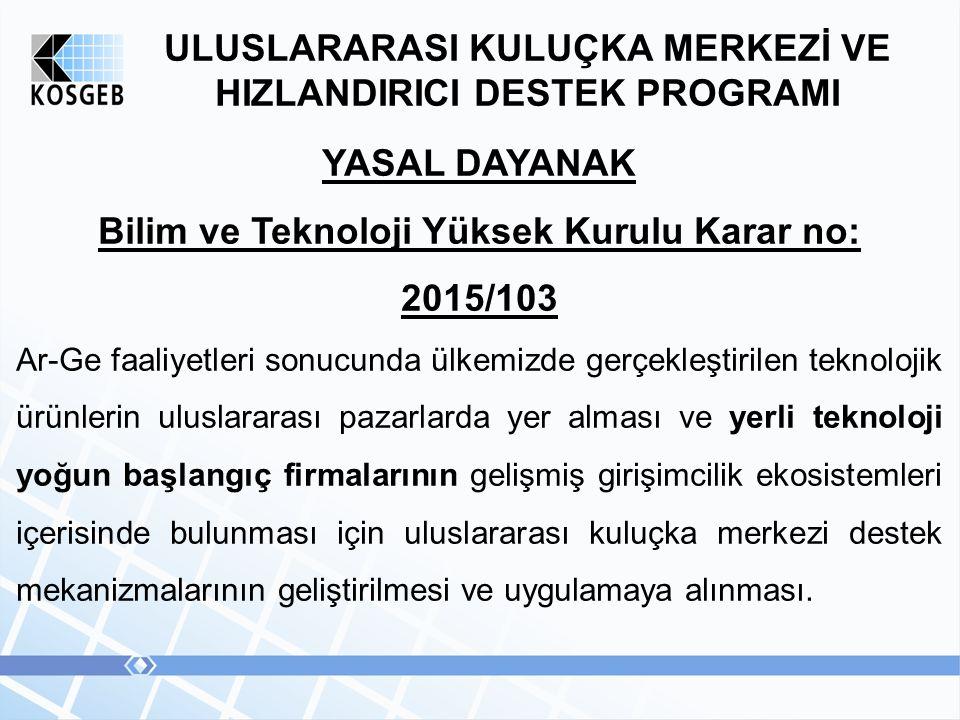 ULUSLARARASI KULUÇKA MERKEZİ VE HIZLANDIRICI DESTEK PROGRAMI YASAL DAYANAK Bilim ve Teknoloji Yüksek Kurulu Karar no: 2015/103 Ar-Ge faaliyetleri sonu