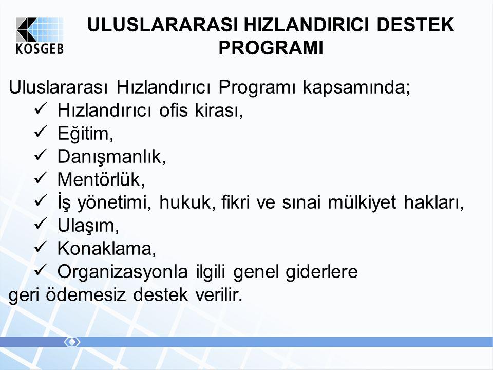 ULUSLARARASI HIZLANDIRICI DESTEK PROGRAMI Uluslararası Hızlandırıcı Programı kapsamında; Hızlandırıcı ofis kirası, Eğitim, Danışmanlık, Mentörlük, İş