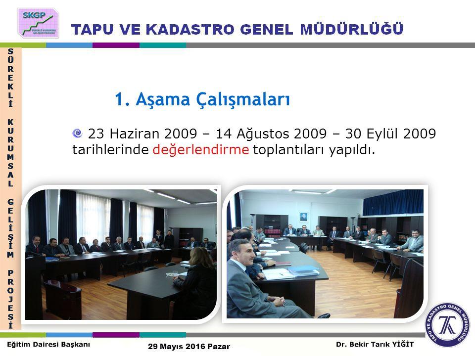 23 Haziran 2009 – 14 Ağustos 2009 – 30 Eylül 2009 tarihlerinde değerlendirme toplantıları yapıldı.