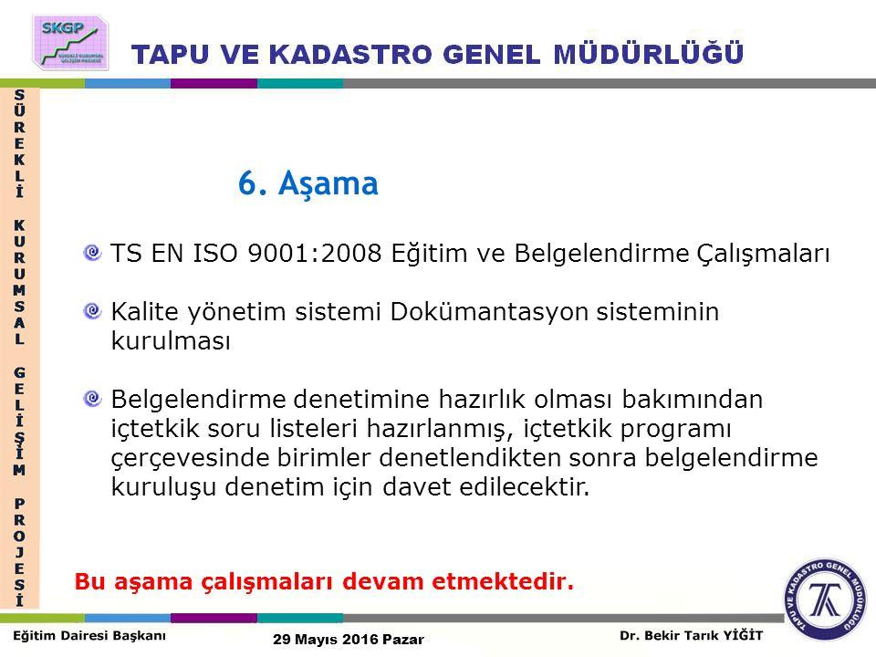 6. Aşama TS EN ISO 9001:2008 Eğitim ve Belgelendirme Çalışmaları Kalite yönetim sistemi Dokümantasyon sisteminin kurulması Belgelendirme denetimine ha