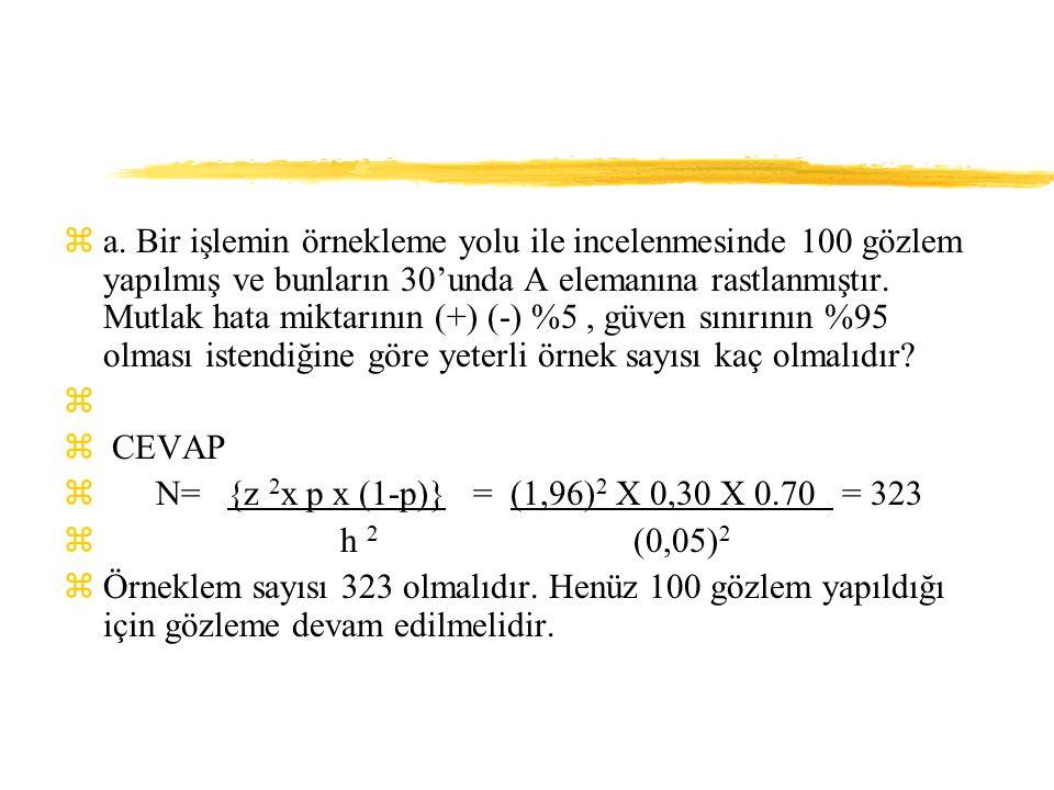 za. Bir işlemin örnekleme yolu ile incelenmesinde 100 gözlem yapılmış ve bunların 30'unda A elemanına rastlanmıştır. Mutlak hata miktarının (+) (-) %5