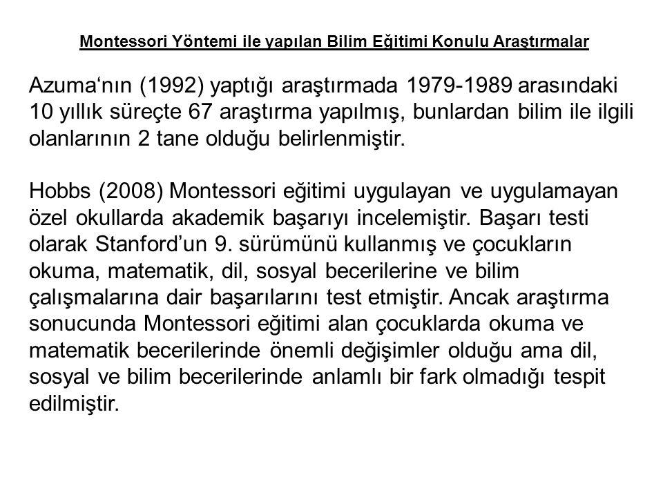 Montessori Yöntemi ile yapılan Bilim Eğitimi Konulu Araştırmalar Azuma'nın (1992) yaptığı araştırmada 1979-1989 arasındaki 10 yıllık süreçte 67 araştırma yapılmış, bunlardan bilim ile ilgili olanlarının 2 tane olduğu belirlenmiştir.