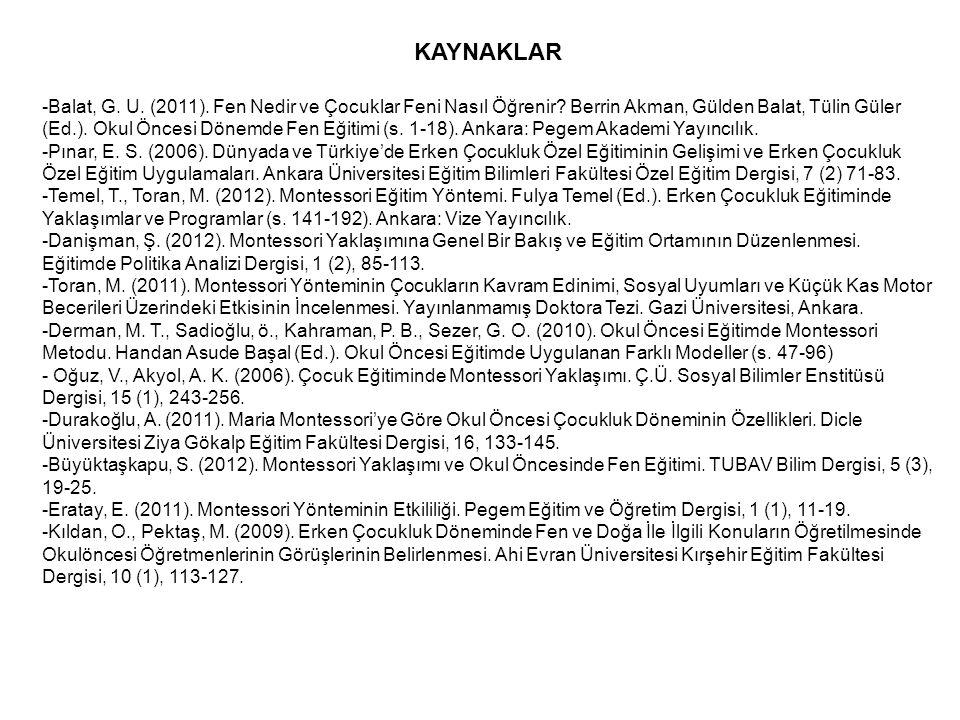 KAYNAKLAR -Balat, G. U. (2011). Fen Nedir ve Çocuklar Feni Nasıl Öğrenir? Berrin Akman, Gülden Balat, Tülin Güler (Ed.). Okul Öncesi Dönemde Fen Eğiti