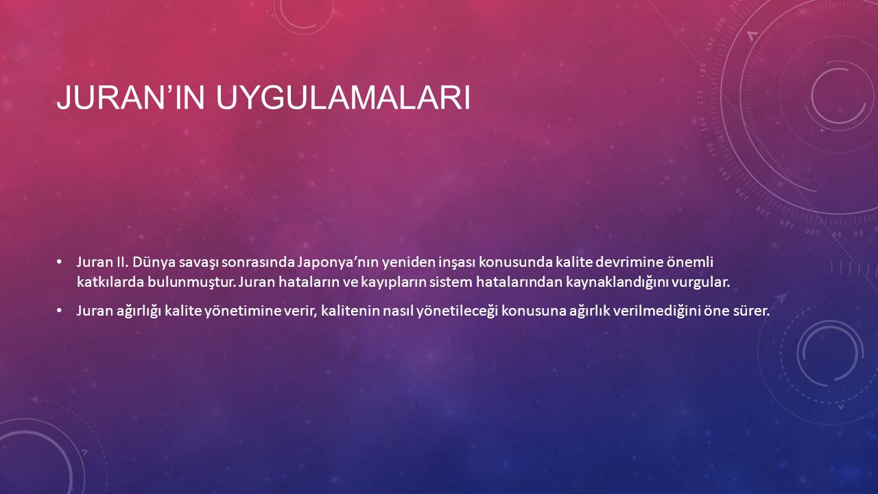 JURAN'IN UYGULAMALARI Juran II.