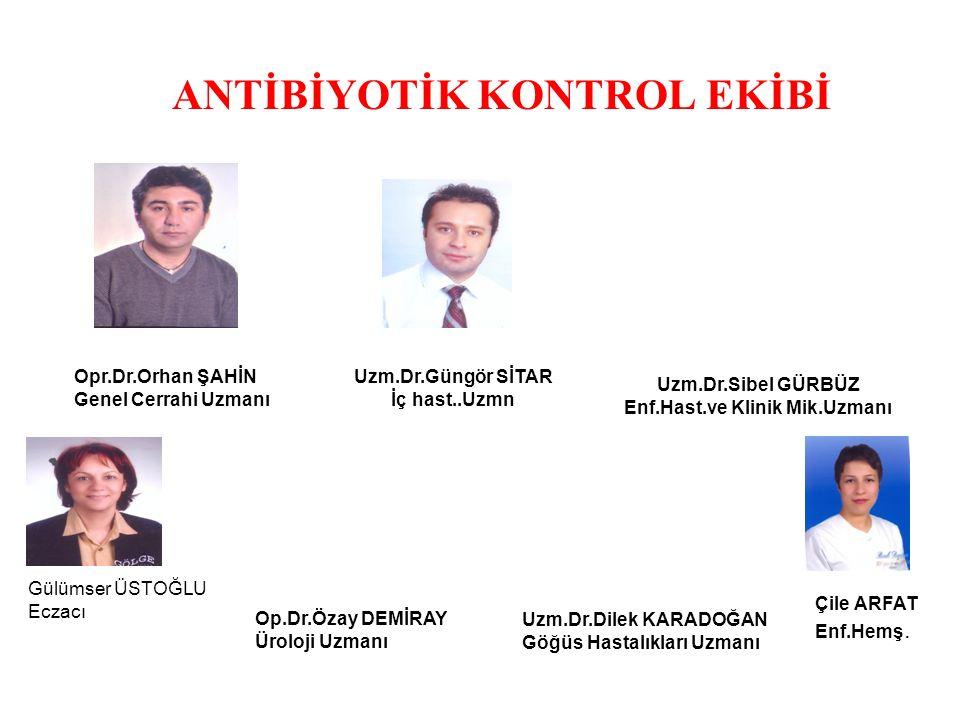 ANTİBİYOTİK KONTROL KOMİTESİ *Hastanede antibiyotik kullanımı ile ilgili politikaları belirlemek ve uygulamak, *Antibiyotik kontrol ekibi tarafından Antibiyotik kullanım Kontrolü ve Antibiyotik Profilaksi rehberi hazırlamak, *Antibiyotik kontrol ekibi tarafından antibiyotik kullanım politikalarının klinik pratikteki sonuçları izlenmeli ve Enfeksiyon Kontrol Komitesi toplantılarında sunulmalıdır.