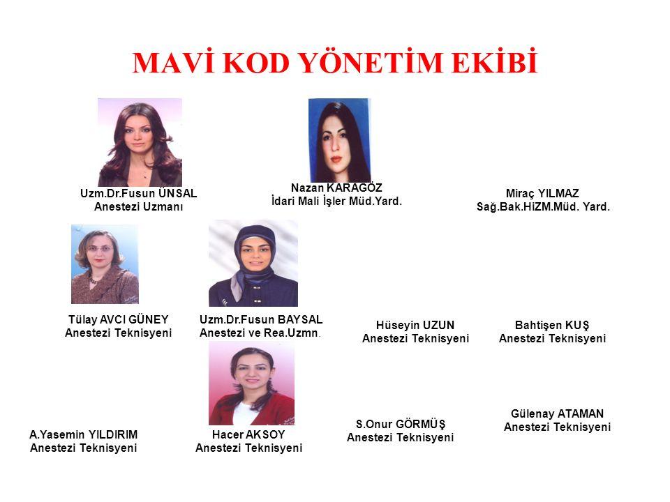 MAVİ KOD YÖNETİM EKİBİ Tülay AVCI GÜNEY Anestezi Teknisyeni Miraç YILMAZ Sağ.Bak.HiZM.Müd.