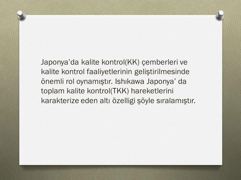 Japonya'da kalite kontrol(KK) çemberleri ve kalite kontrol faaliyetlerinin geliştirilmesinde önemli rol oynamıştır. Ishıkawa Japonya' da toplam kalite