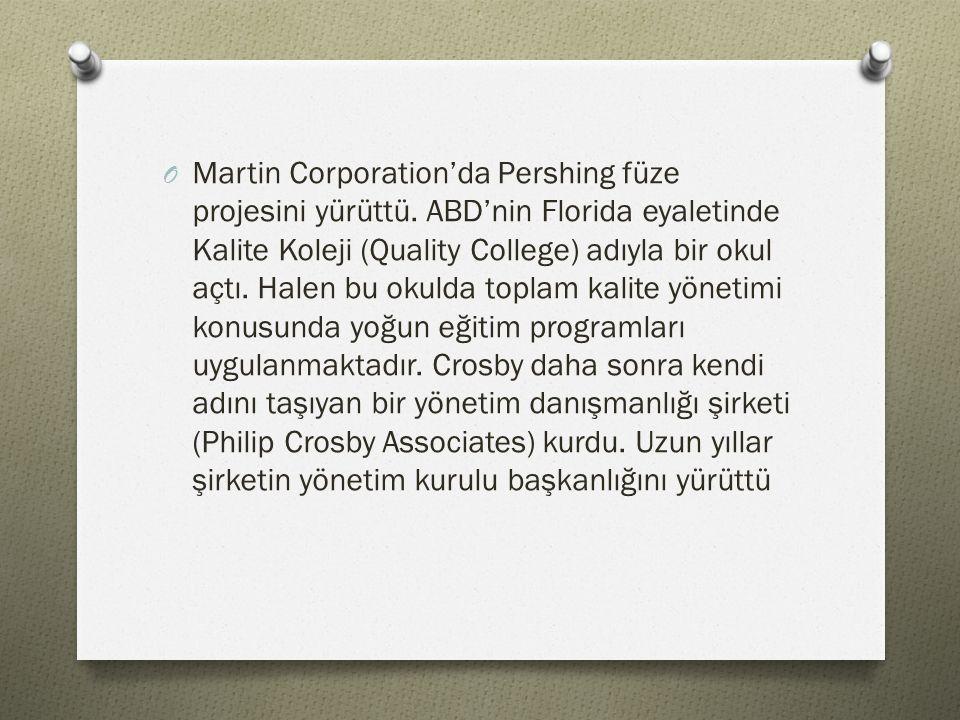O Martin Corporation'da Pershing füze projesini yürüttü. ABD'nin Florida eyaletinde Kalite Koleji (Quality College) adıyla bir okul açtı. Halen bu oku