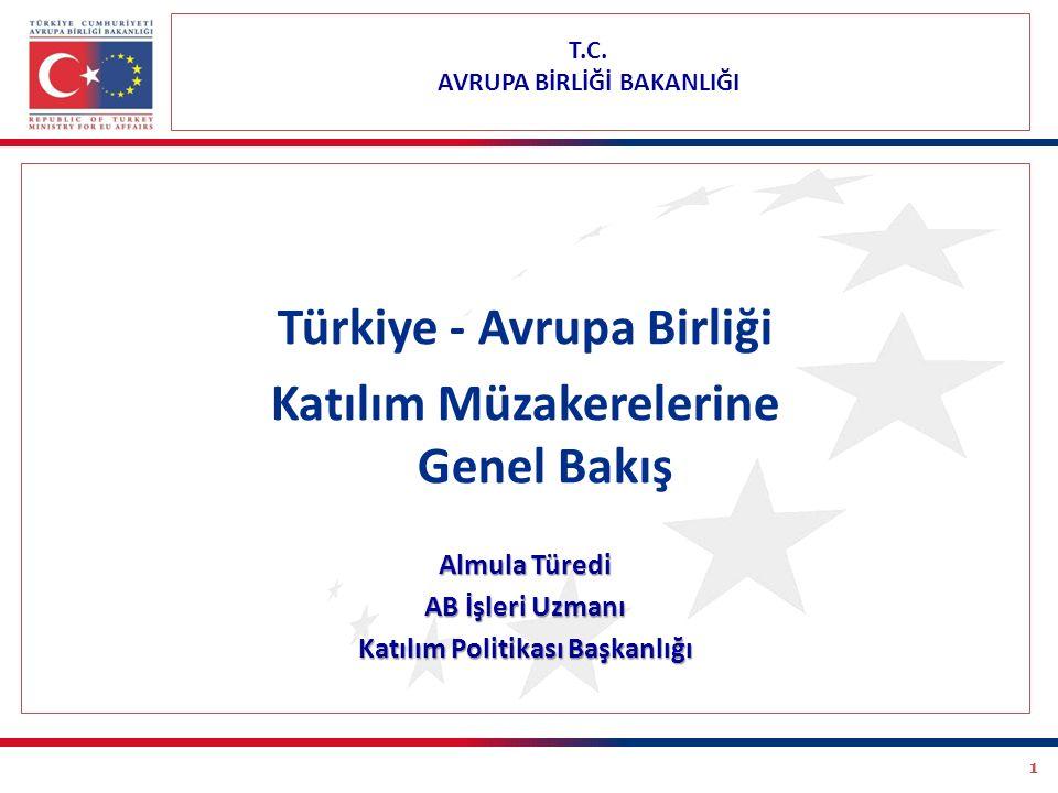 1 T.C. AVRUPA BİRLİĞİ BAKANLIĞI Türkiye - Avrupa Birliği Katılım Müzakerelerine Genel Bakış Almula Türedi AB İşleri Uzmanı Katılım Politikası Başkanlı