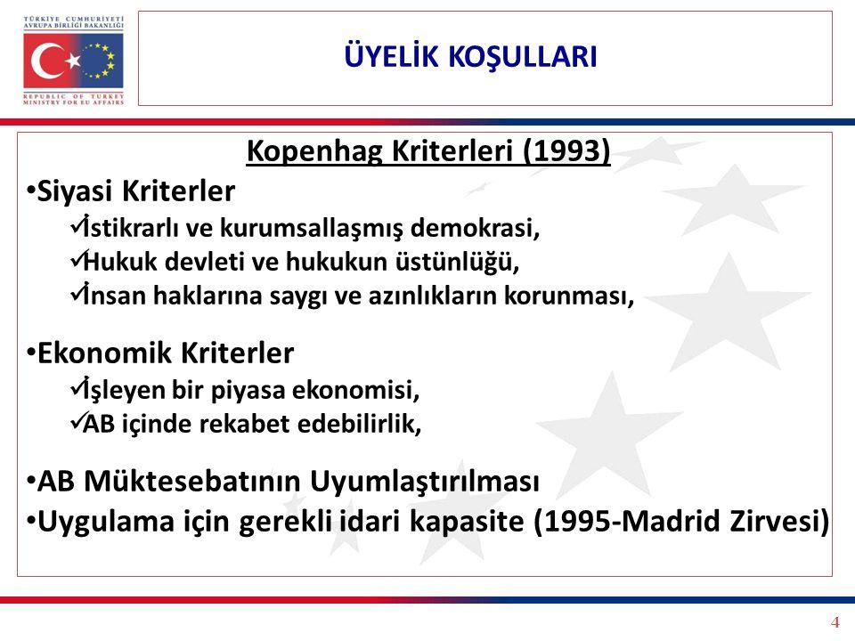 4 Kopenhag Kriterleri (1993) Siyasi Kriterler İstikrarlı ve kurumsallaşmış demokrasi, Hukuk devleti ve hukukun üstünlüğü, İnsan haklarına saygı ve azı
