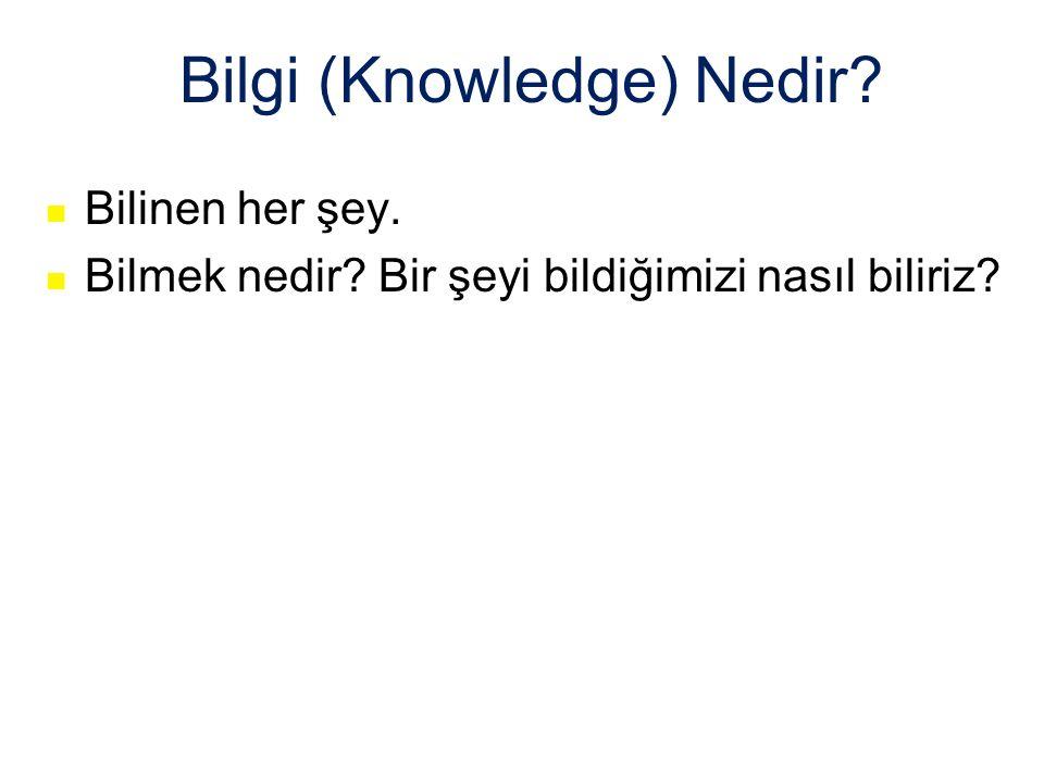 Bilgi (Knowledge) Nedir Bilinen her şey. Bilmek nedir Bir şeyi bildiğimizi nasıl biliriz