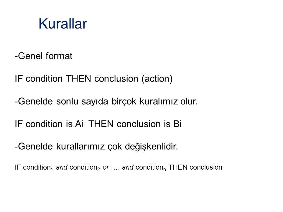Kurallar -Genel format IF condition THEN conclusion (action) -Genelde sonlu sayıda birçok kuralımız olur.