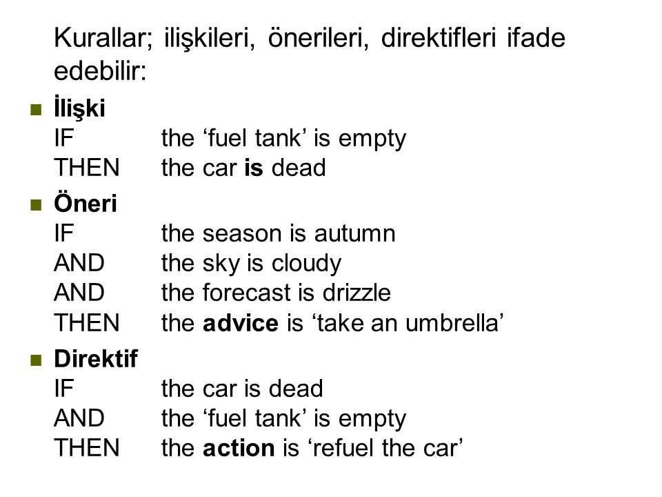 Kurallar; ilişkileri, önerileri, direktifleri ifade edebilir: n İlişki IFthe 'fuel tank' is empty THENthe car is dead n Öneri IFthe season is autumn ANDthe sky is cloudy ANDthe forecast is drizzle THENthe advice is 'take an umbrella' n Direktif IFthe car is dead ANDthe 'fuel tank' is empty THENthe action is 'refuel the car'