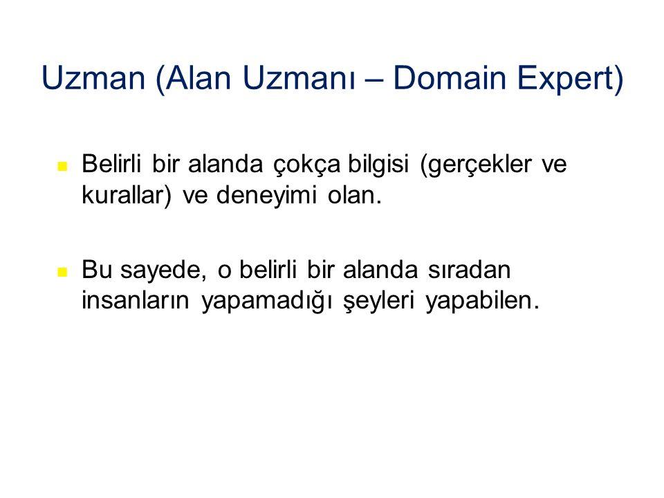 Uzman (Alan Uzmanı – Domain Expert) Belirli bir alanda çokça bilgisi (gerçekler ve kurallar) ve deneyimi olan.