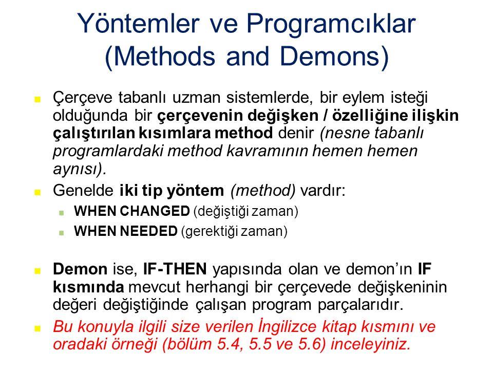 Yöntemler ve Programcıklar (Methods and Demons) Çerçeve tabanlı uzman sistemlerde, bir eylem isteği olduğunda bir çerçevenin değişken / özelliğine ilişkin çalıştırılan kısımlara method denir (nesne tabanlı programlardaki method kavramının hemen hemen aynısı).