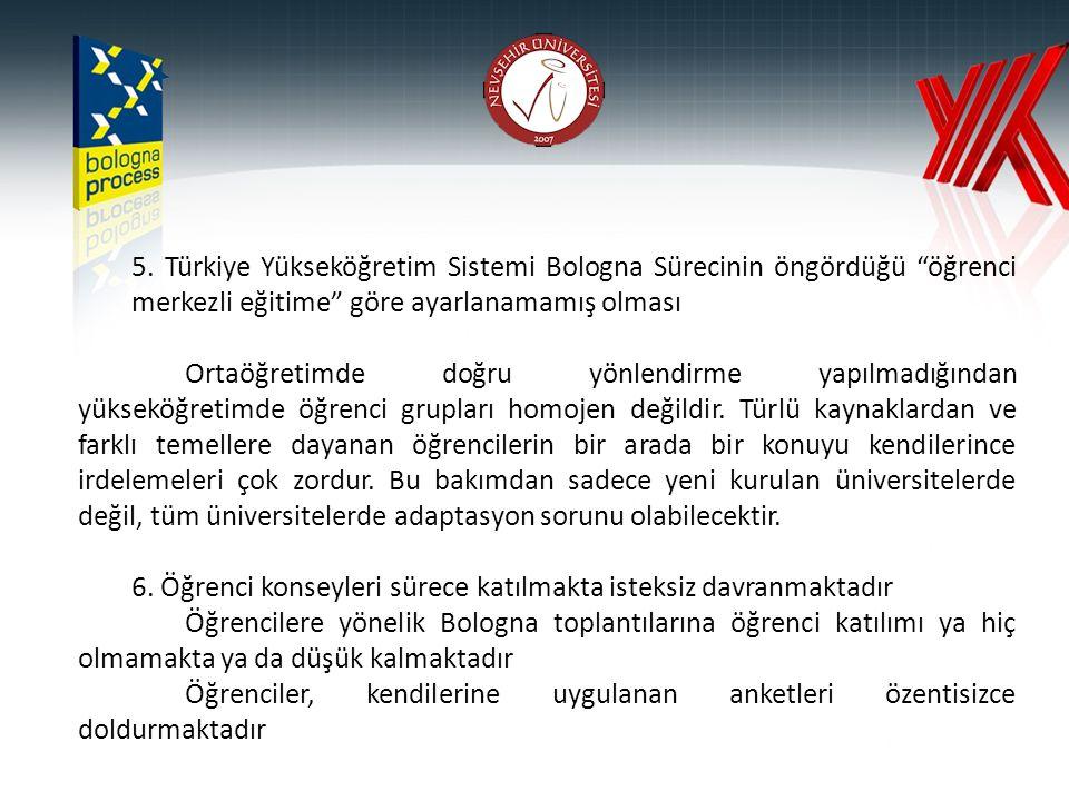 """5. Türkiye Yükseköğretim Sistemi Bologna Sürecinin öngördüğü """"öğrenci merkezli eğitime"""" göre ayarlanamamış olması Ortaöğretimde doğru yönlendirme yapı"""