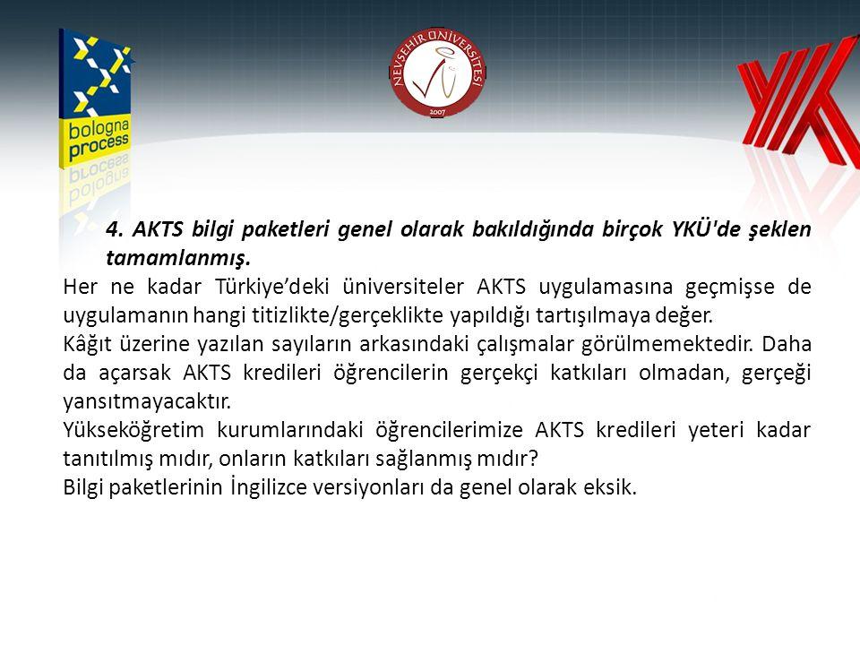 4. AKTS bilgi paketleri genel olarak bakıldığında birçok YKÜ'de şeklen tamamlanmış. Her ne kadar Türkiye'deki üniversiteler AKTS uygulamasına geçmişse