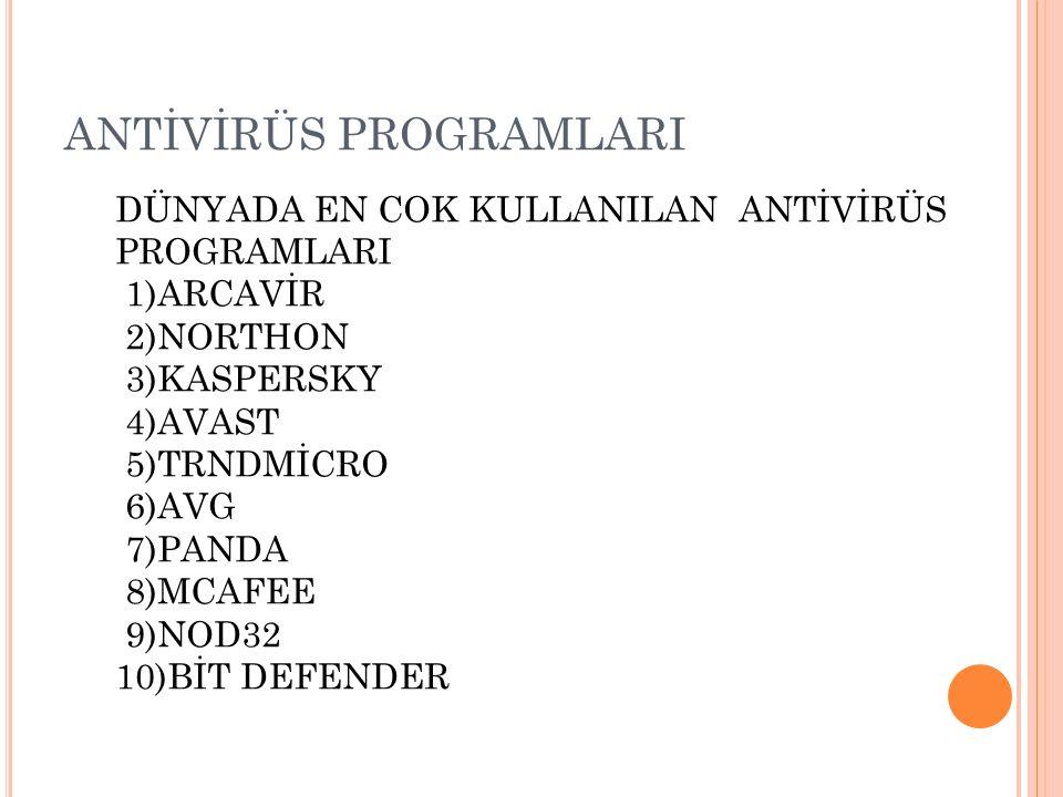 ANTİVİRÜS PROGRAMLARI AVG Anti-Virüs: AVG Anti-Virus Free Edition çok iyi bilinen bir antivirüs korunma aracıdır.