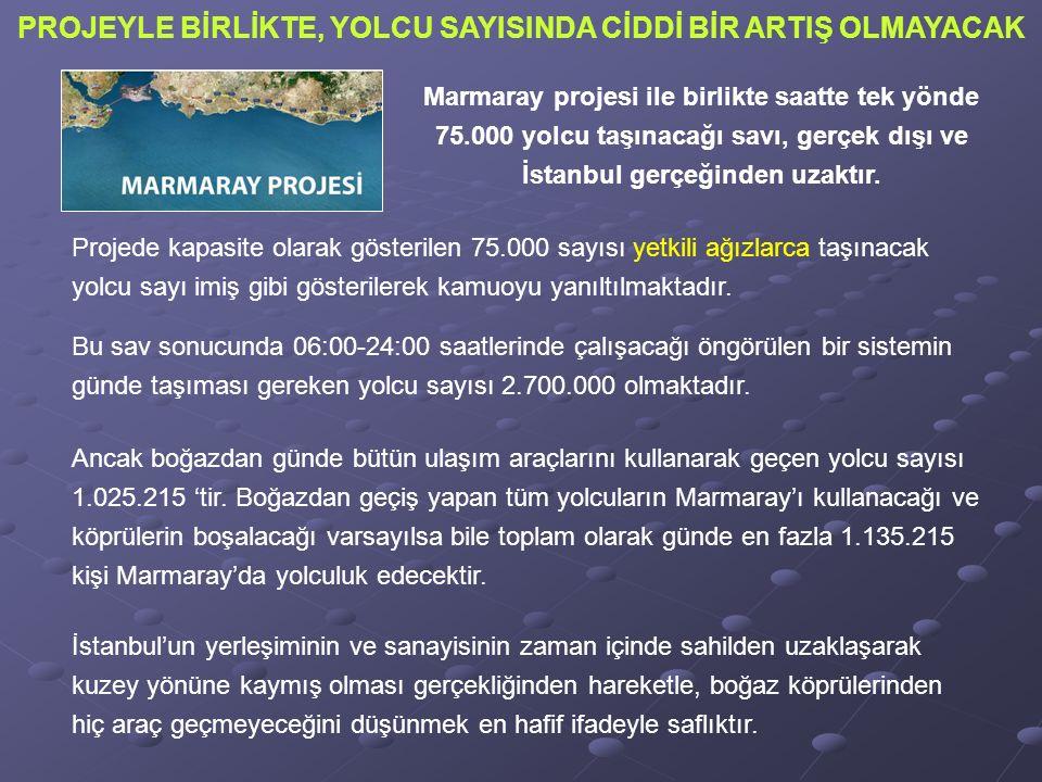 Marmaray projesi ile birlikte saatte tek yönde 75.000 yolcu taşınacağı savı, gerçek dışı ve İstanbul gerçeğinden uzaktır.