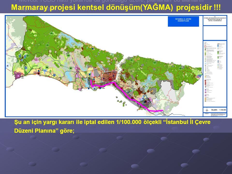 Halk kentin doğu ve batı uçlarına sürgün edilirken, kırmızı noktalarla gösterilen bölgeler; kentsel yağma (dönüşüm!) projeleri ile bir avuç zenginin rant alanı haline getirilecektir.