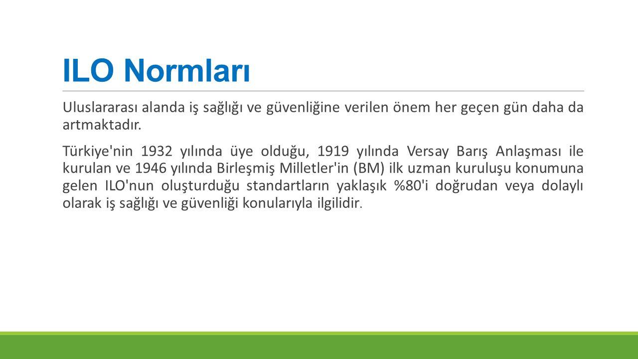 ILO Normları Uluslararası alanda iş sağlığı ve güvenliğine verilen önem her geçen gün daha da artmaktadır. Türkiye'nin 1932 yılında üye olduğu, 1919 y