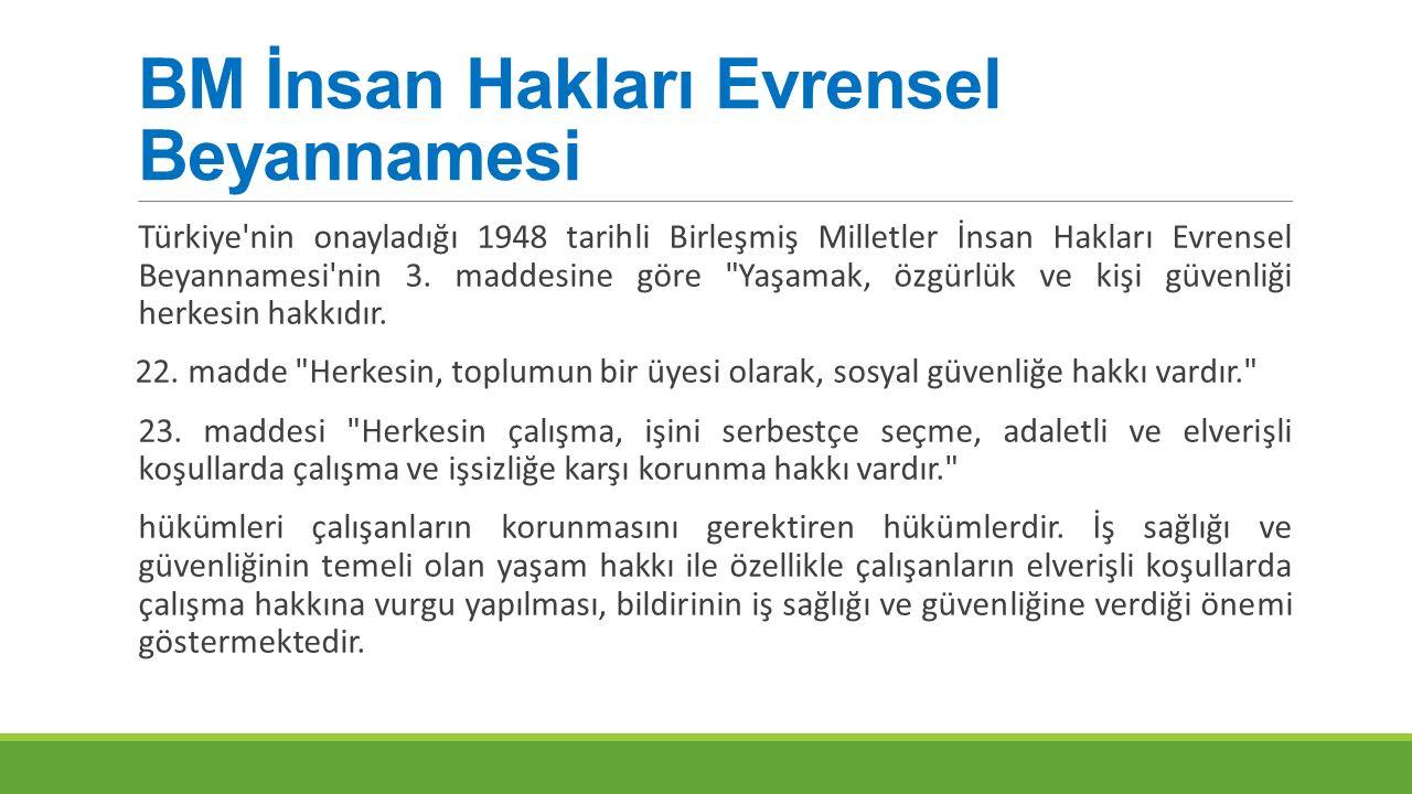 BM İnsan Hakları Evrensel Beyannamesi Türkiye'nin onayladığı 1948 tarihli Birleşmiş Milletler İnsan Hakları Evrensel Beyannamesi'nin 3. maddesine göre