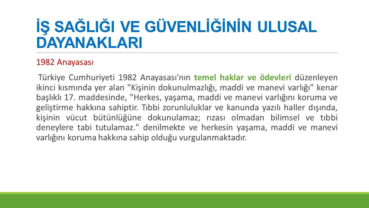 İŞ SAĞLIĞI VE GÜVENLİĞİNİN ULUSAL DAYANAKLARI 1982 Anayasası Türkiye Cumhuriyeti 1982 Anayasası'nın temel haklar ve ödevleri düzenleyen ikinci kısmınd
