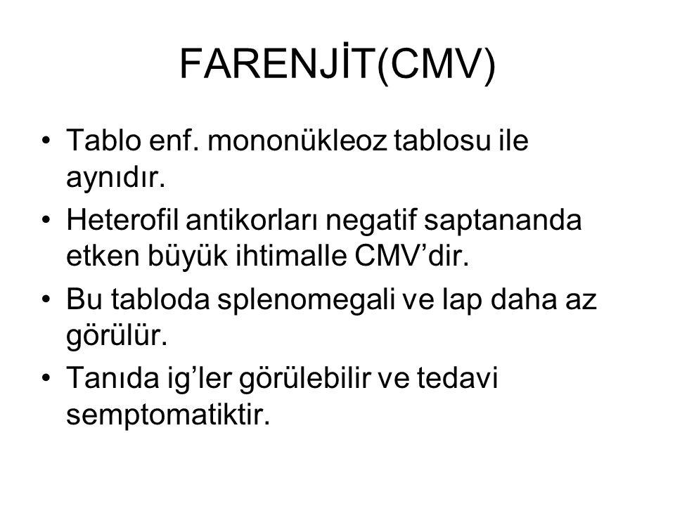 FARENJİT(CMV) Tablo enf. mononükleoz tablosu ile aynıdır. Heterofil antikorları negatif saptananda etken büyük ihtimalle CMV'dir. Bu tabloda splenomeg