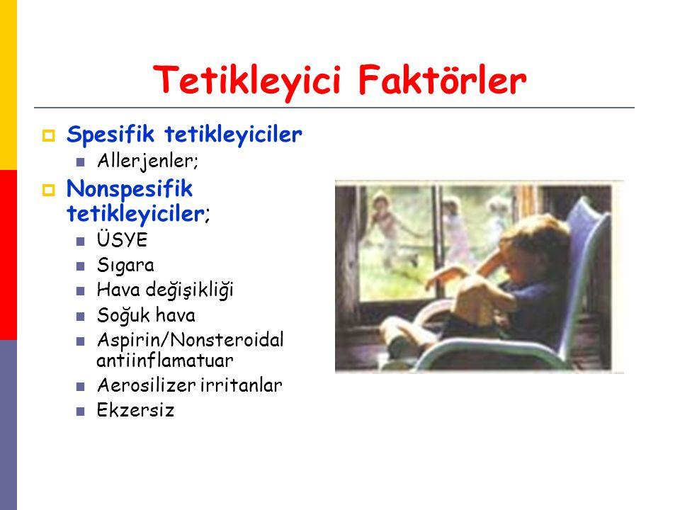 Tetikleyici Faktörler  Spesifik tetikleyiciler Allerjenler;  Nonspesifik tetikleyiciler; ÜSYE Sıgara Hava değişikliği Soğuk hava Aspirin/Nonsteroida