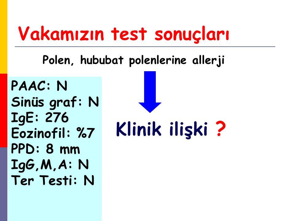 Vakamızın test sonuçları Polen, hububat polenlerine allerji Klinik ilişki ? PAAC: N Sinüs graf: N IgE: 276 Eozinofil: %7 PPD: 8 mm IgG,M,A: N Ter Test