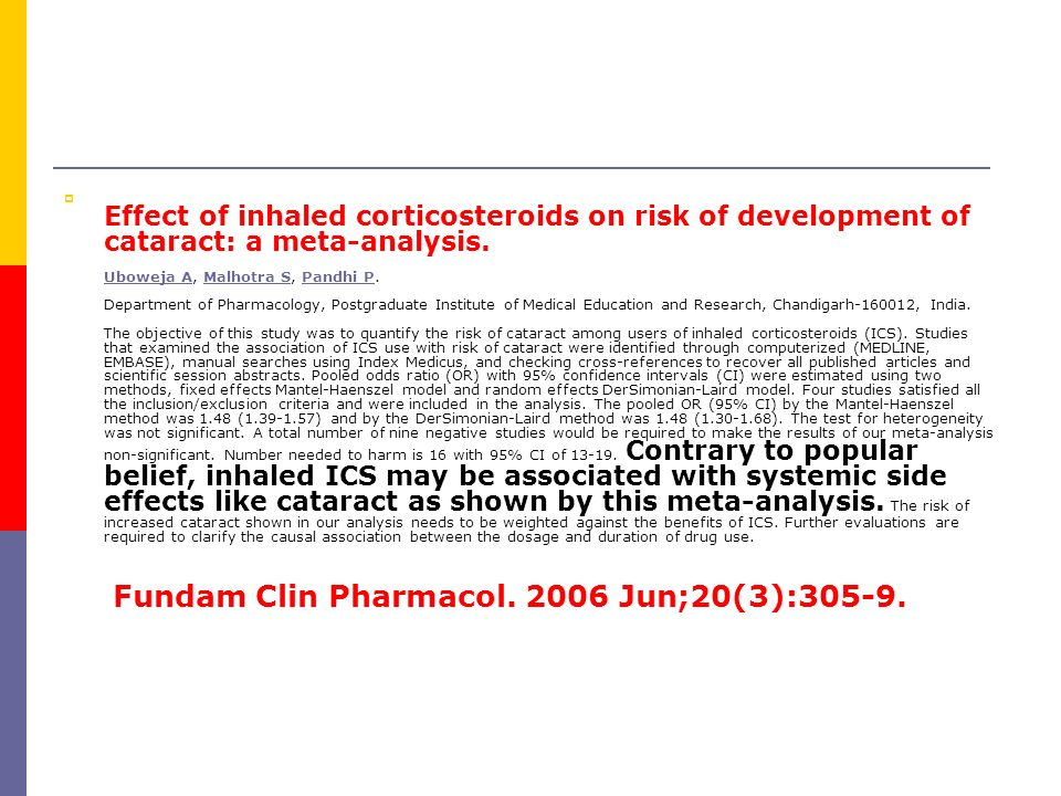  Effect of inhaled corticosteroids on risk of development of cataract: a meta-analysis.