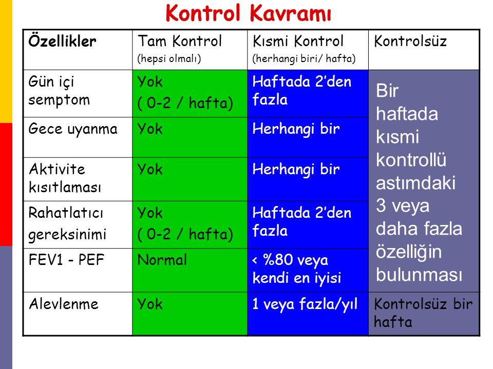 Kontrol Kavramı ÖzelliklerTam Kontrol (hepsi olmalı) Kısmi Kontrol (herhangi biri/ hafta) Kontrolsüz Gün içi semptom Yok ( 0-2 / hafta) Haftada 2'den