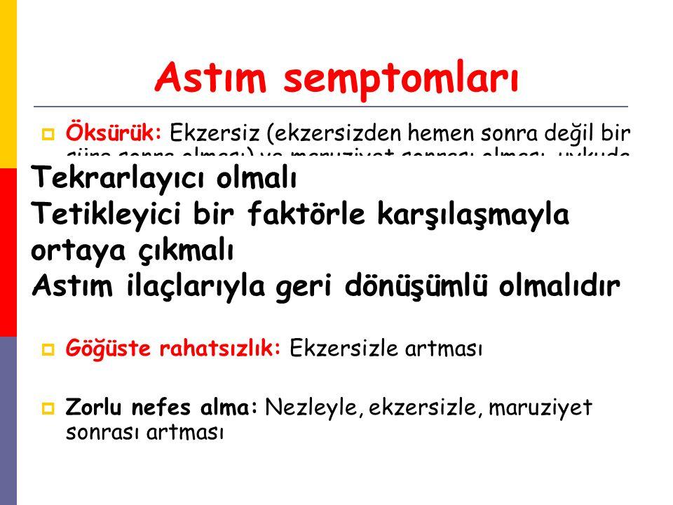Astım semptomları  Öksürük: Ekzersiz (ekzersizden hemen sonra değil bir süre sonra olması) ve maruziyet sonrası olması, uykuda ve sabahın erken saatl